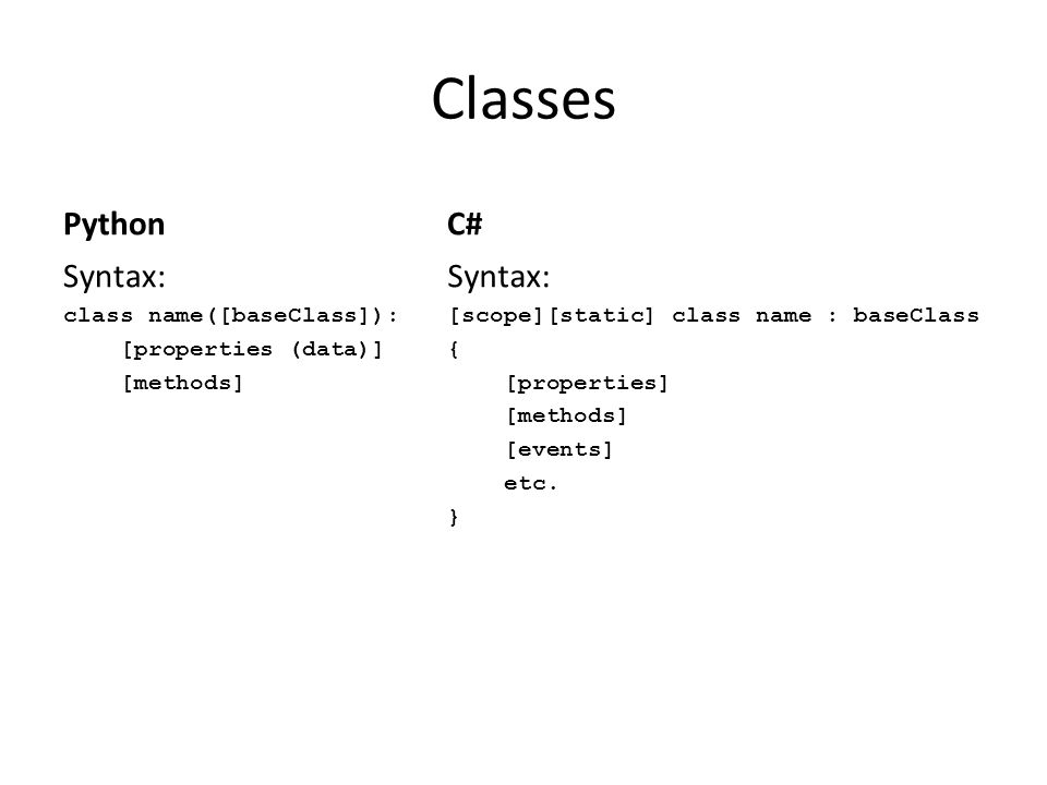 Classes Python Syntax: class name([baseClass]): [properties (data)] [methods] C# Syntax: [scope][static] class name : baseClass { [properties] [method