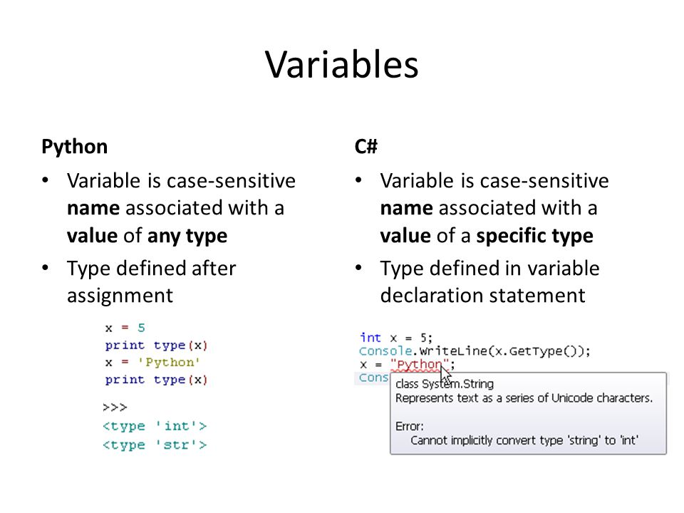 Variables Python Variable is case-sensitive name associated with a value of any type Type defined after assignment C# Variable is case-sensitive name