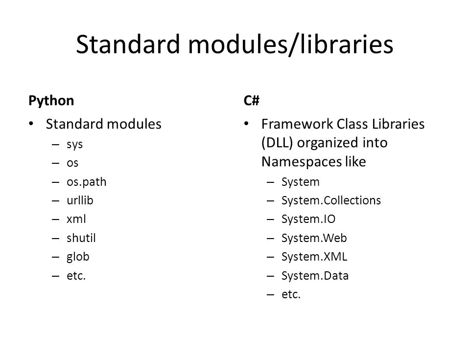 Standard modules/libraries Python Standard modules – sys – os – os.path – urllib – xml – shutil – glob – etc. C# Framework Class Libraries (DLL) organ