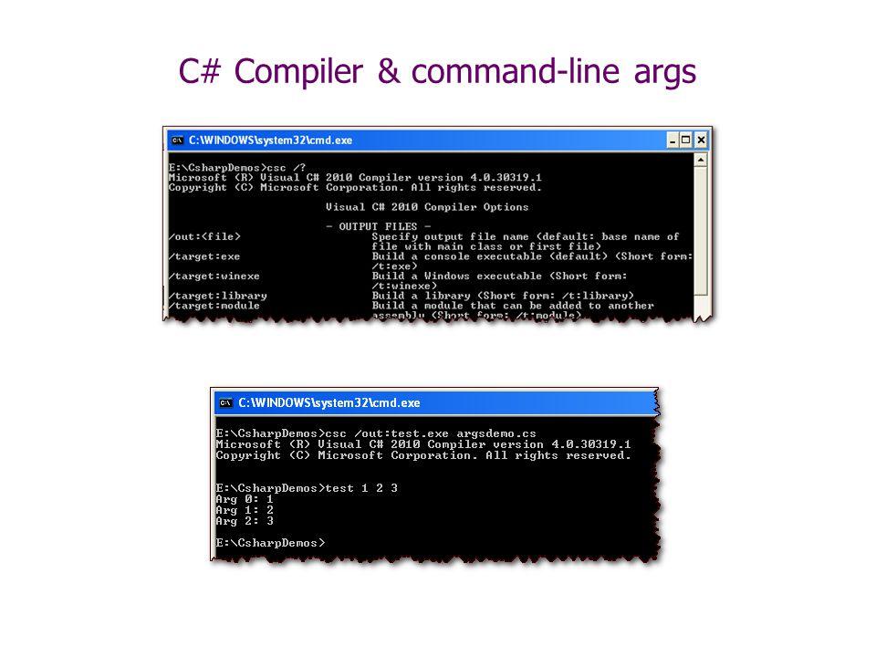 C# Compiler & command-line args