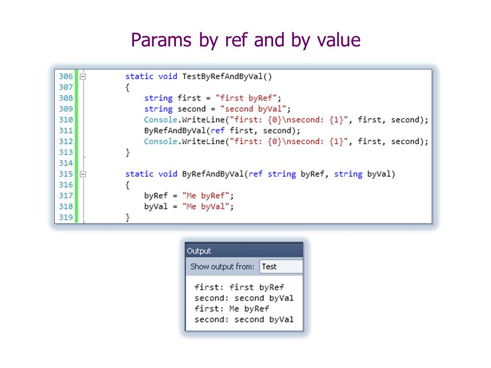 Params by ref and by value