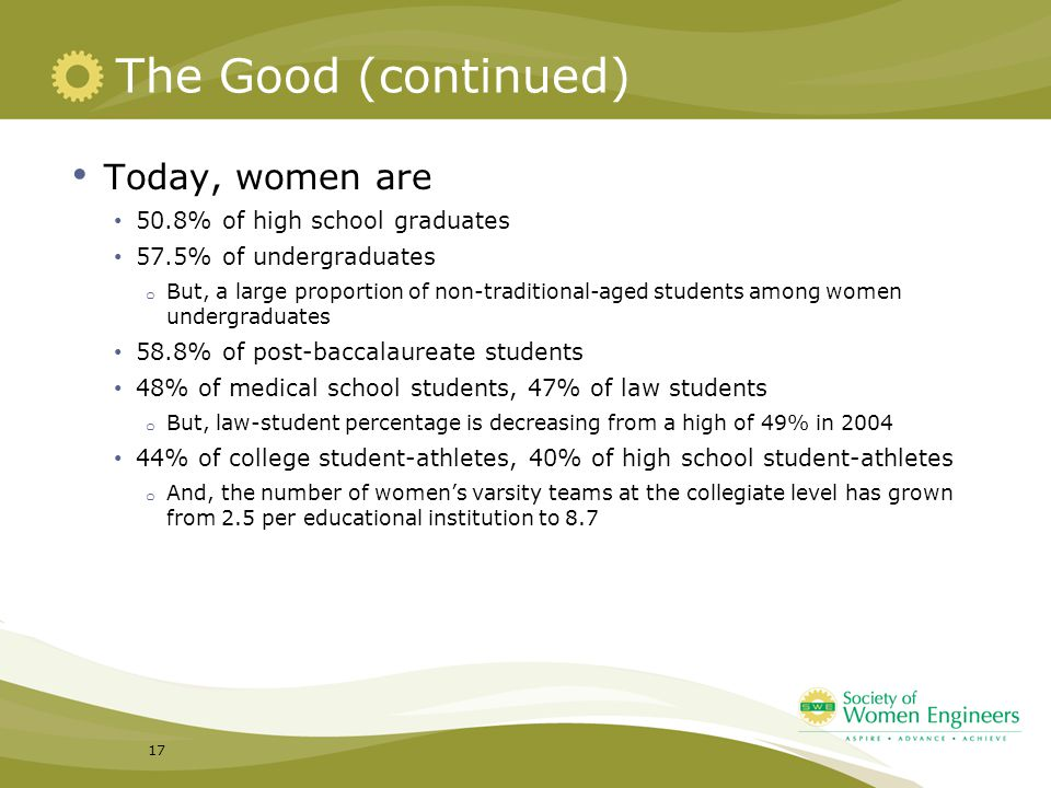 The Good (continued) Today, women are 50.8% of high school graduates 57.5% of undergraduates o But, a large proportion of non-traditional-aged student