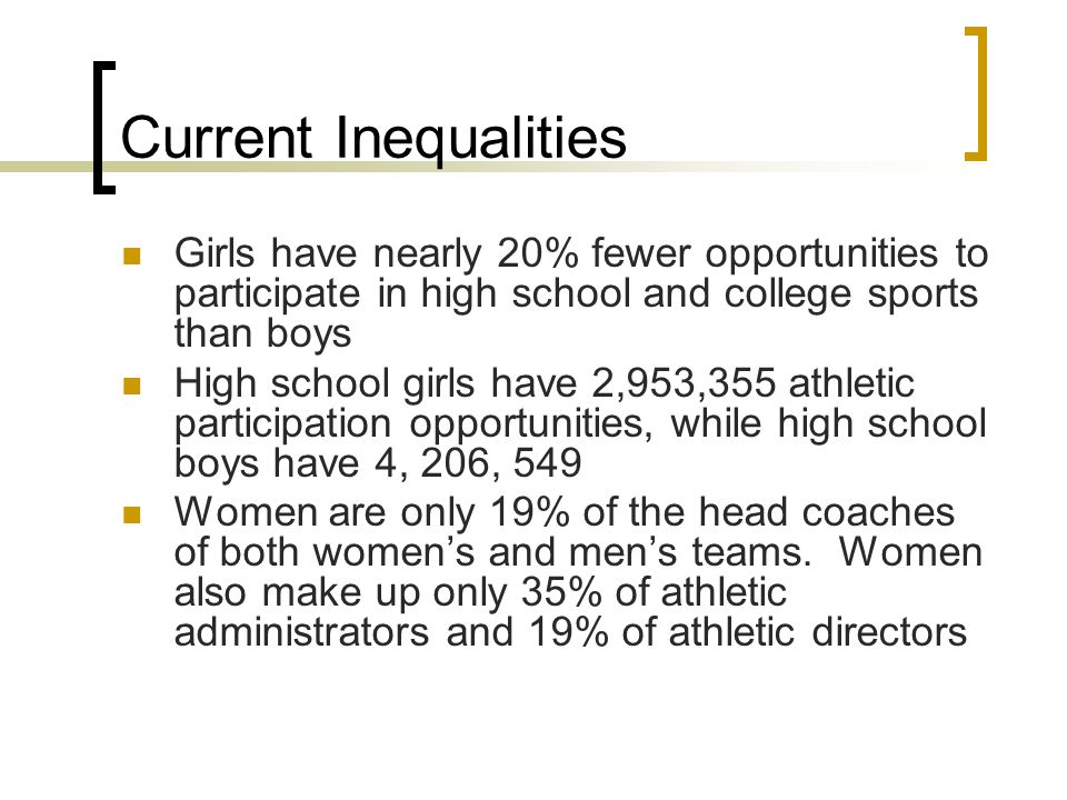 Current Inequalities Girls have nearly 20% fewer opportunities to participate in high school and college sports than boys High school girls have 2,953
