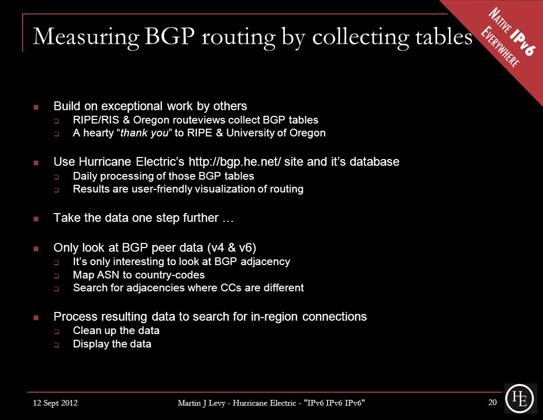 Measuring BGP routing by collecting tables Build on exceptional work by others  RIPE/RIS & Oregon routeviews collect BGP tables  A hearty thank you to RIPE & University of Oregon Use Hurricane Electric's http://bgp.he.net/ site and it's database  Daily processing of those BGP tables  Results are user-friendly visualization of routing Take the data one step further … Only look at BGP peer data (v4 & v6)  It's only interesting to look at BGP adjacency  Map ASN to country-codes  Search for adjacencies where CCs are different Process resulting data to search for in-region connections  Clean up the data  Display the data 12 Sept 2012 Martin J Levy - Hurricane Electric - IPv6 IPv6 IPv6 20