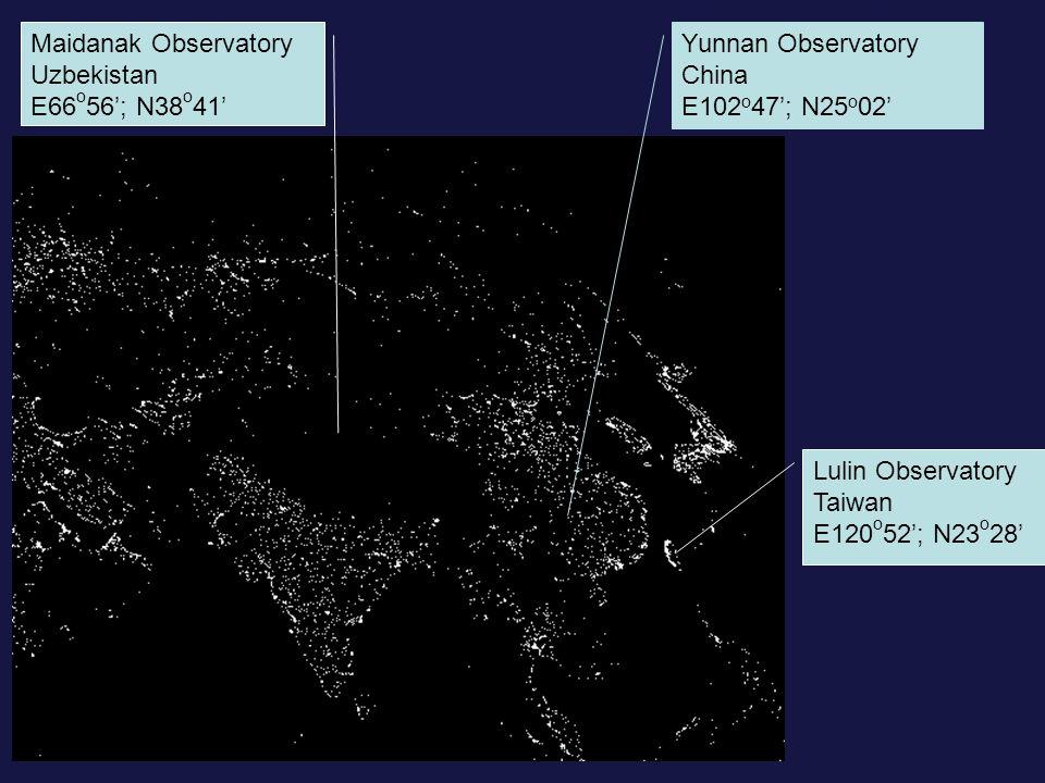 Lulin Observatory Taiwan E120 o 52'; N23 o 28' Maidanak Observatory Uzbekistan E66 o 56'; N38 o 41' Yunnan Observatory China E102 o 47'; N25 o 02'