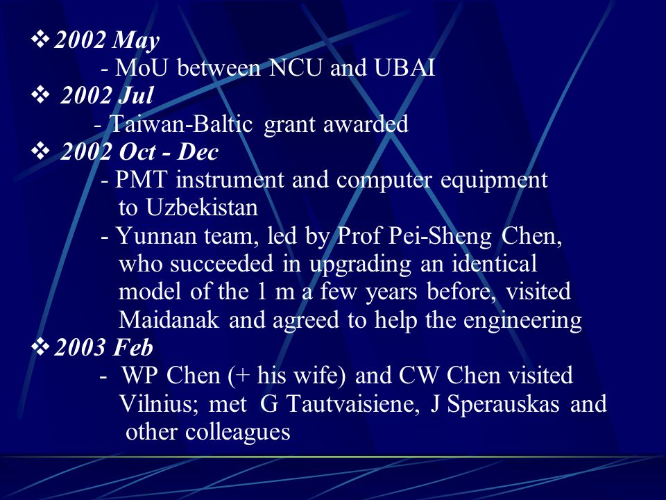 Zhang Zhi-Wei attaching AP-8 to one of the Zeiss 60 cm telescopes (2002.08) Lee Hsu-Tai watching observer of the 1.5 m 1 m to be ready by summer 2004; NCU will have > 1/3 time Good for monitoring and global campaigns