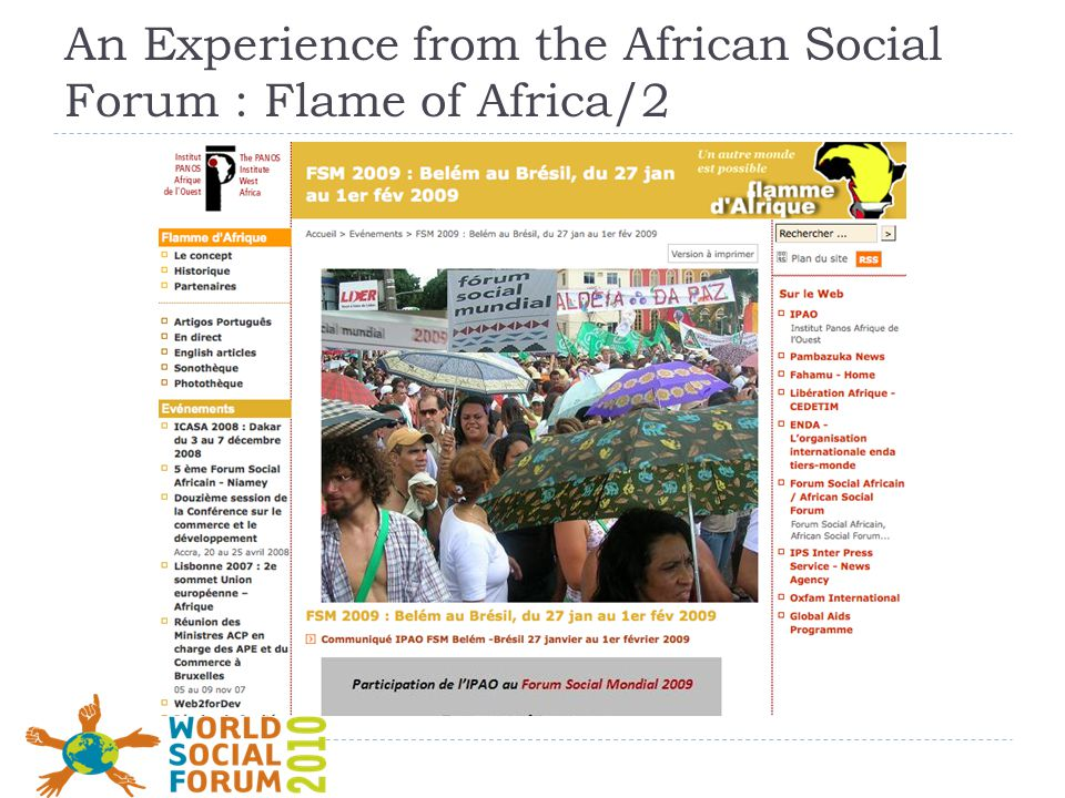 An Experience from the African Social Forum : Flame of Africa/2