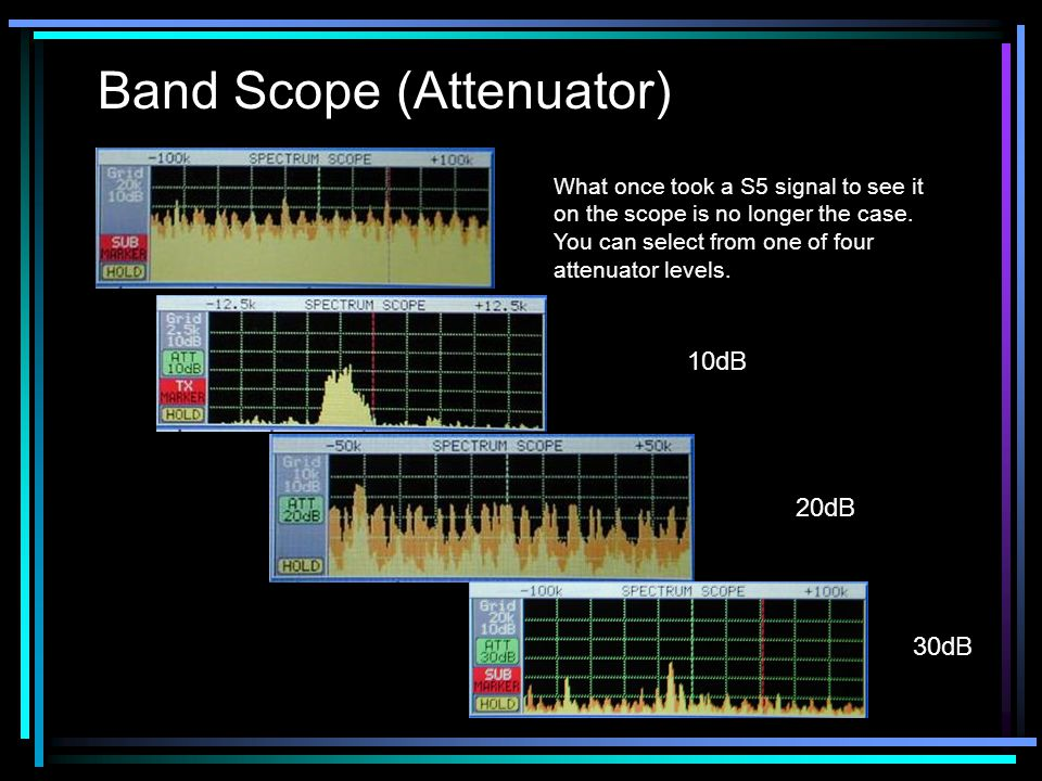 Band Scope (Attenuator) What once took a S5 signal to see it on the scope is no longer the case.