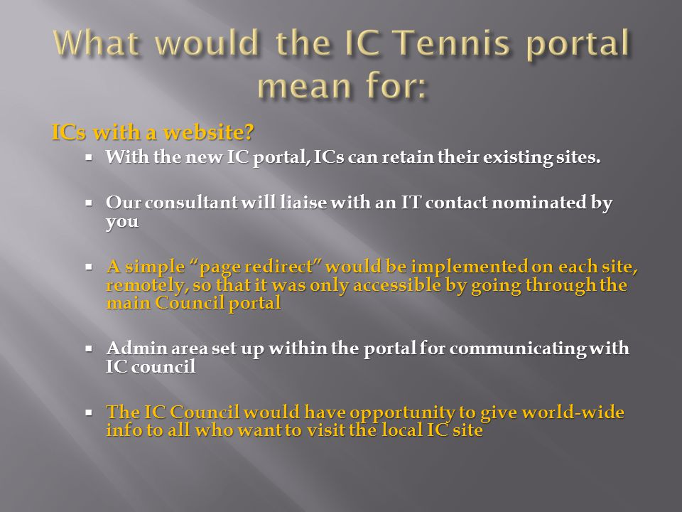 ICs with a website.  With the new IC portal, ICs can retain their existing sites.