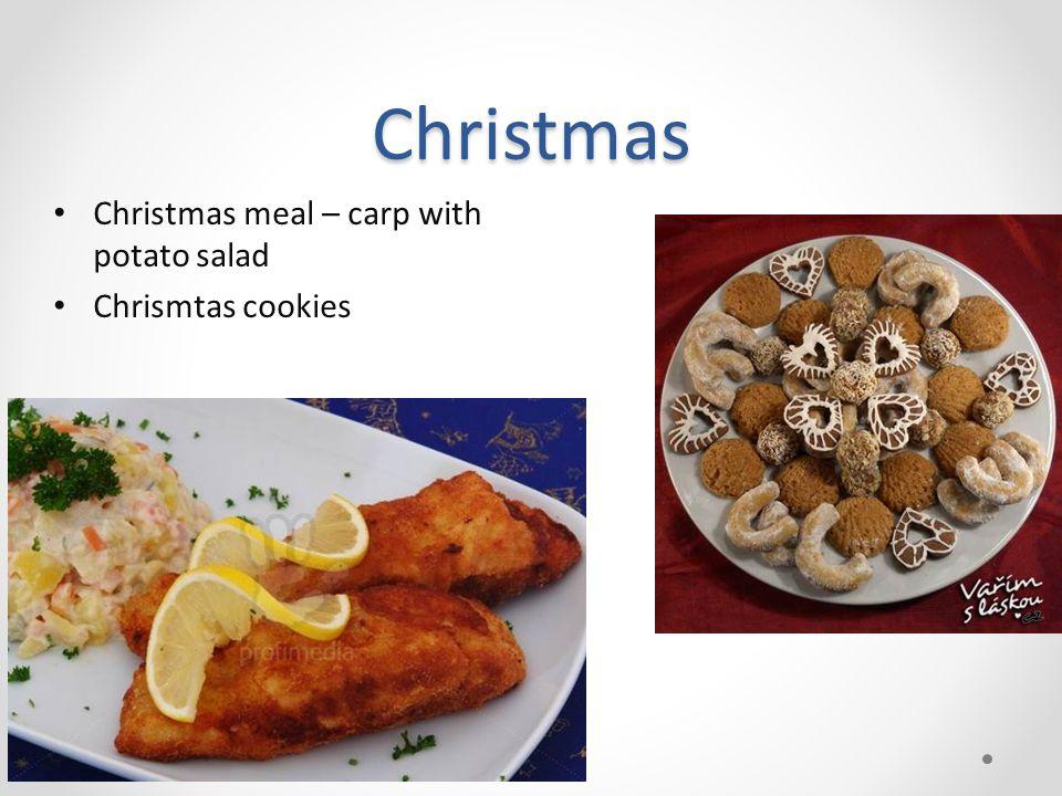 Christmas Christmas meal – carp with potato salad Chrismtas cookies