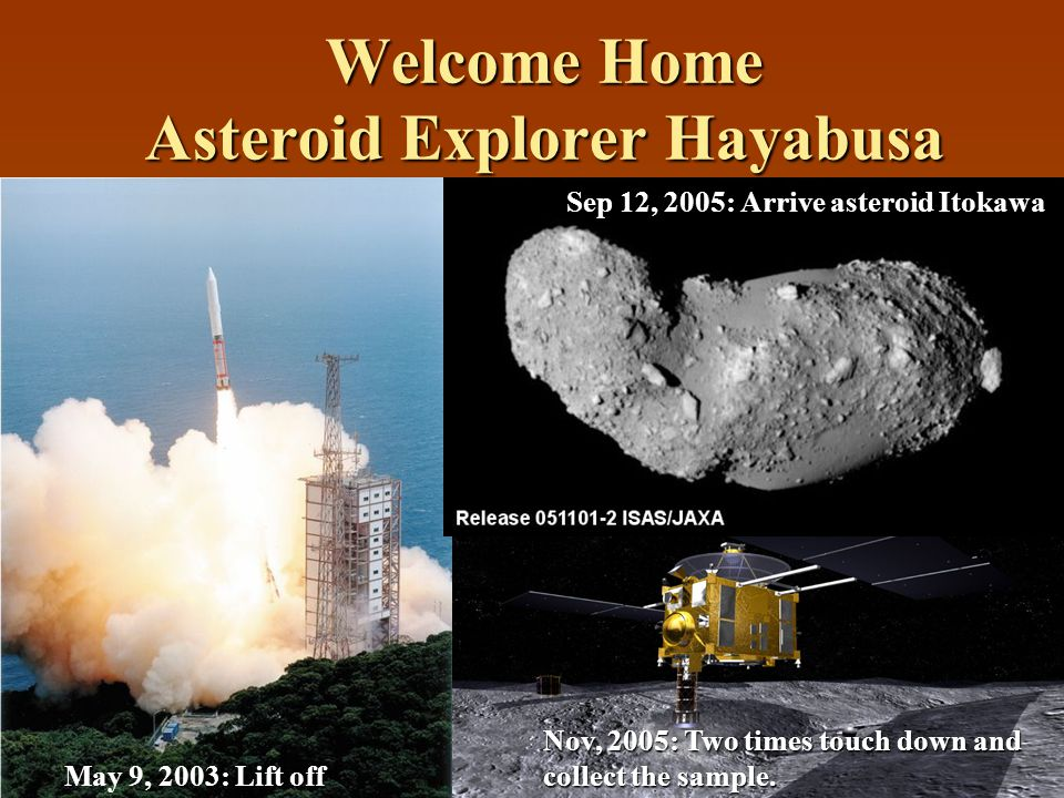 Welcome Home Asteroid Explorer Hayabusa May 9, 2003: Lift off Sep 12, 2005: Arrive asteroid Itokawa Nov, 2005: Two times touch down and collect the sample.