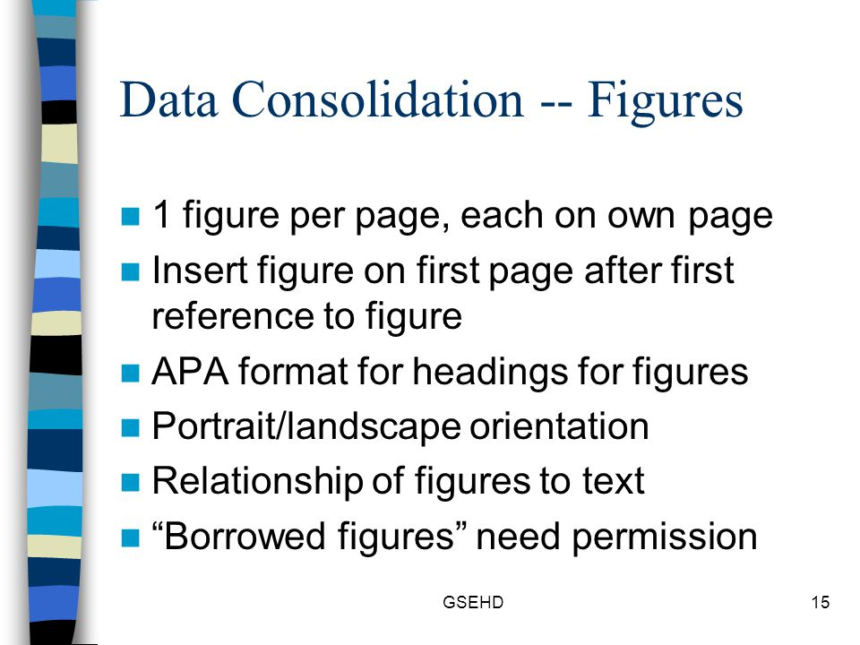 GSEHD15 Data Consolidation -- Figures 1 figure per page, each on own page Insert figure on first page after first reference to figure APA format for headings for figures Portrait/landscape orientation Relationship of figures to text Borrowed figures need permission