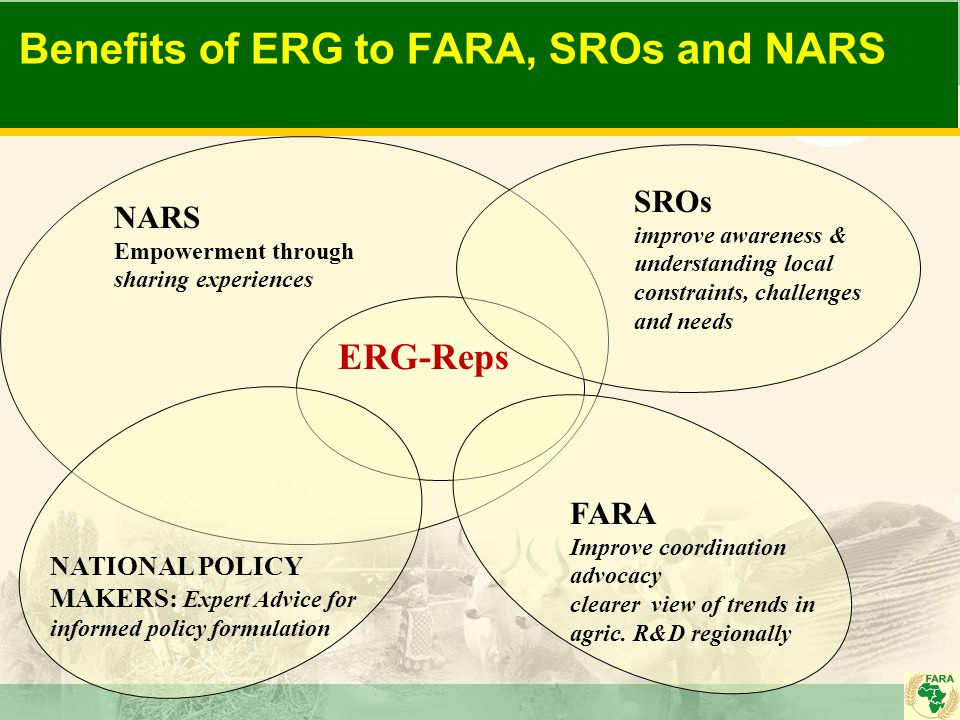 Benefits of ERG to FARA, SROs and NARS NARS Empowerment through sharing experiences ERG-Reps SROs improve awareness & understanding local constraints,