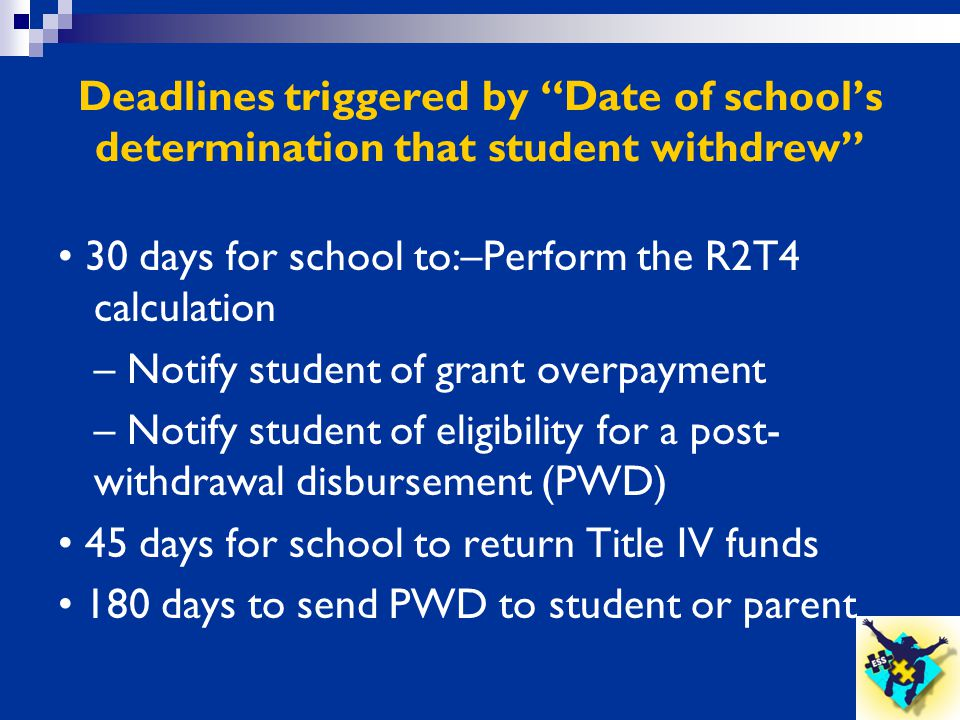 """Deadlines triggered by """"Date of school's determination that student withdrew"""" 30 days for school to:–Perform the R2T4 calculation – Notify student of"""