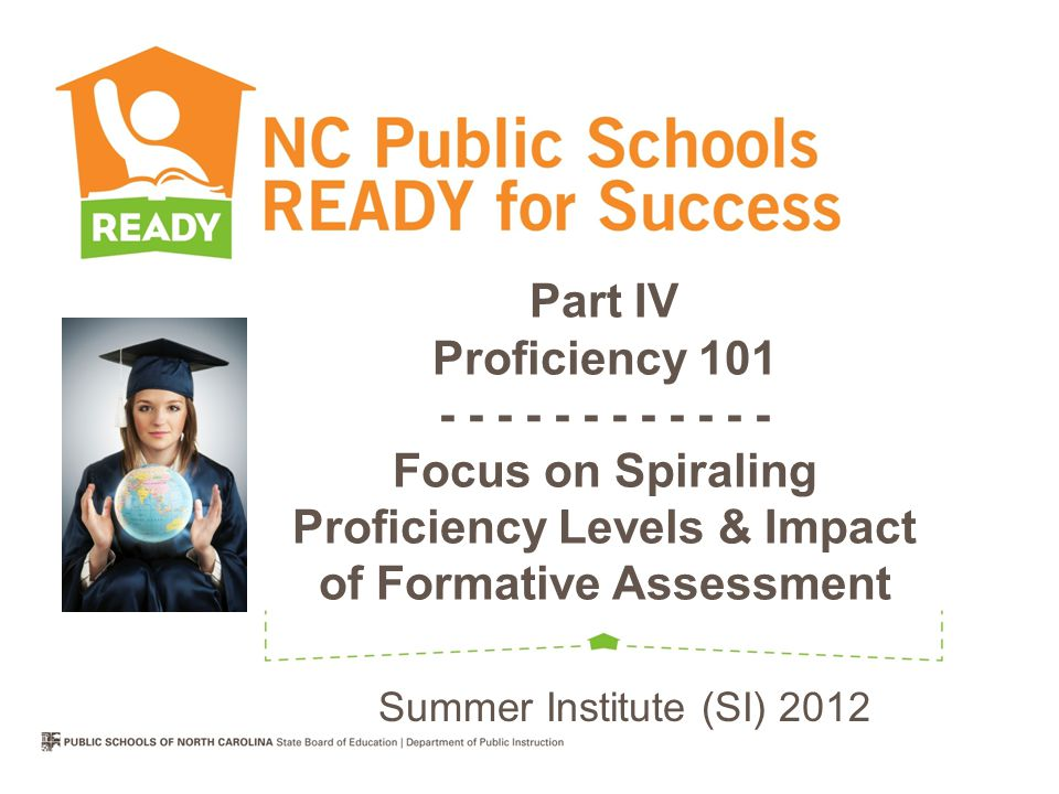 Part IV Proficiency 101 - - - - - - - - - - - - Focus on Spiraling Proficiency Levels & Impact of Formative Assessment Summer Institute (SI) 2012