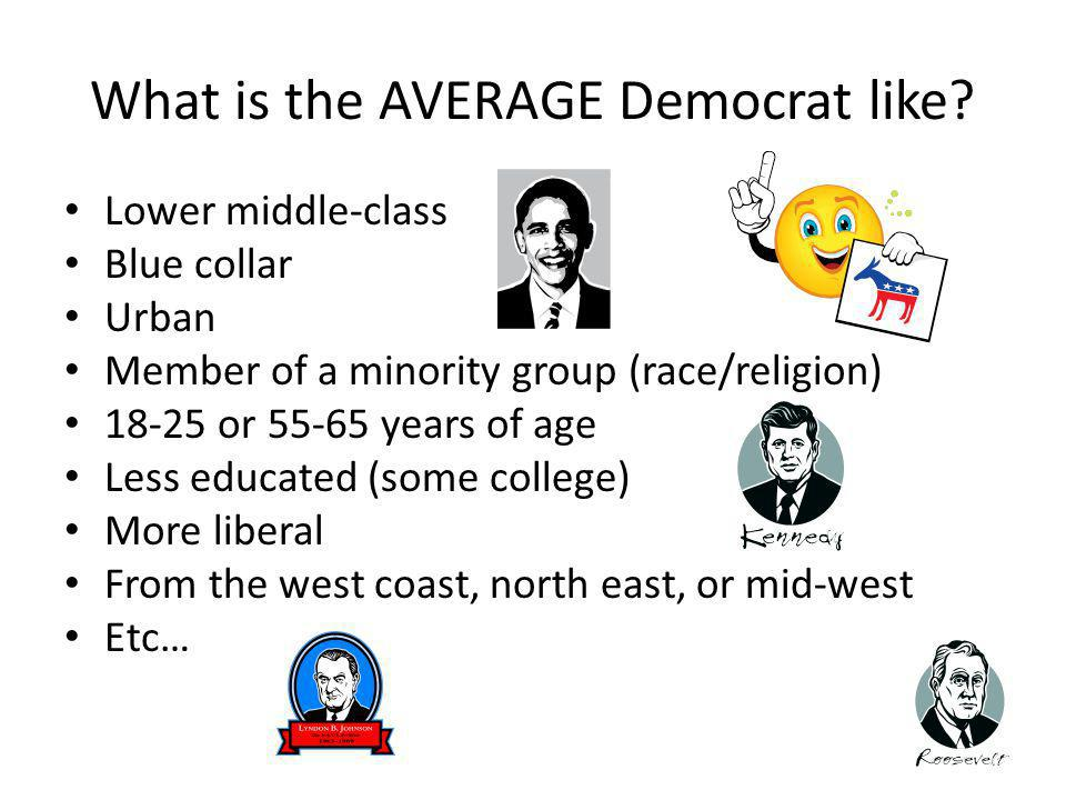 What is the AVERAGE Democrat like? Lower middle-class Blue collar Urban Member of a minority group (race/religion) 18-25 or 55-65 years of age Less ed