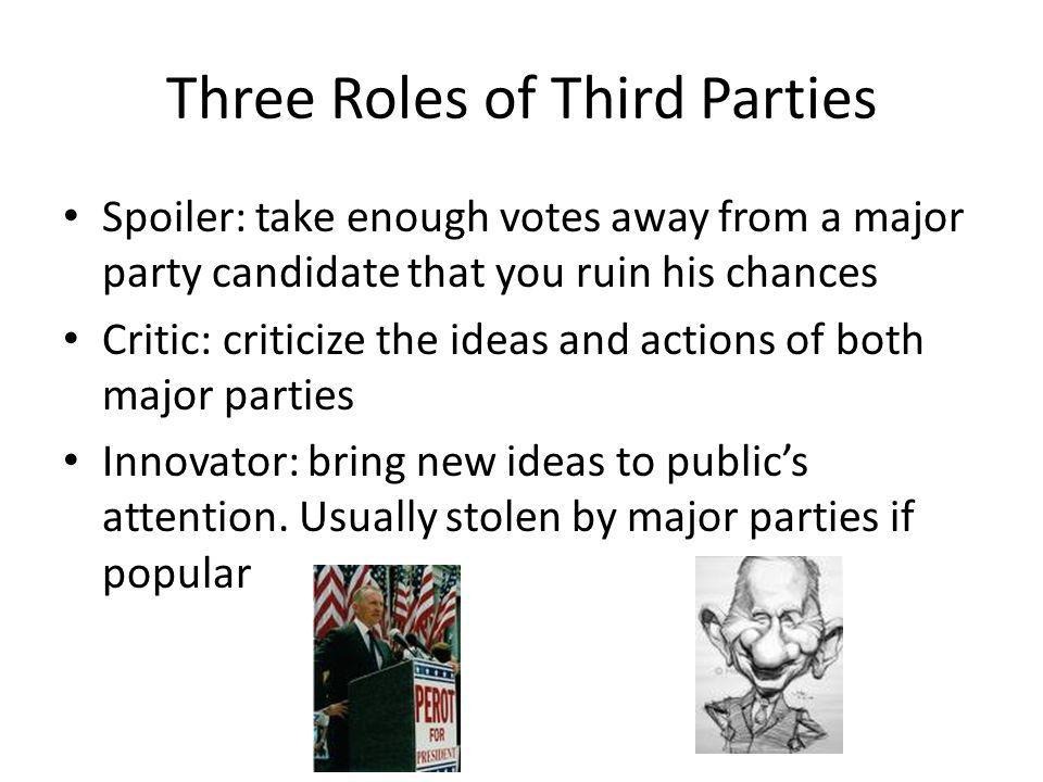 Three Roles of Third Parties Spoiler: take enough votes away from a major party candidate that you ruin his chances Critic: criticize the ideas and ac
