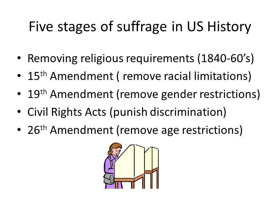 Five stages of suffrage in US History Removing religious requirements (1840-60's) 15 th Amendment ( remove racial limitations) 19 th Amendment (remove