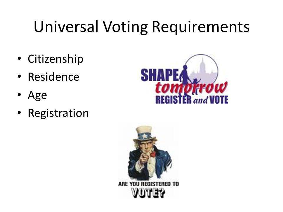 Universal Voting Requirements Citizenship Residence Age Registration