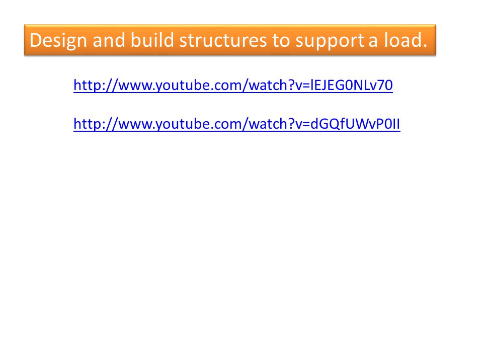 Design and build structures to support a load.