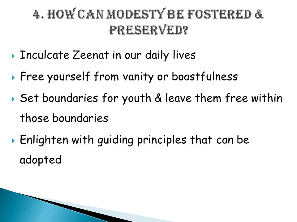  Inculcate Zeenat in our daily lives  Free yourself from vanity or boastfulness  Set boundaries for youth & leave them free within those boundaries  Enlighten with guiding principles that can be adopted