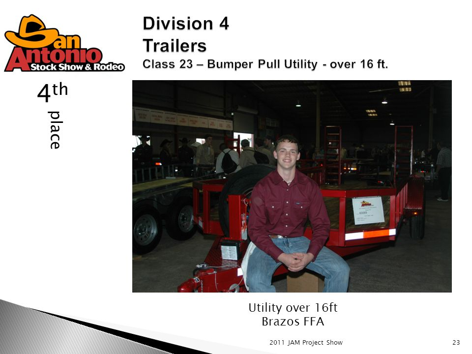 2011 JAM Project Show23 place 4 th Utility over 16ft Brazos FFA