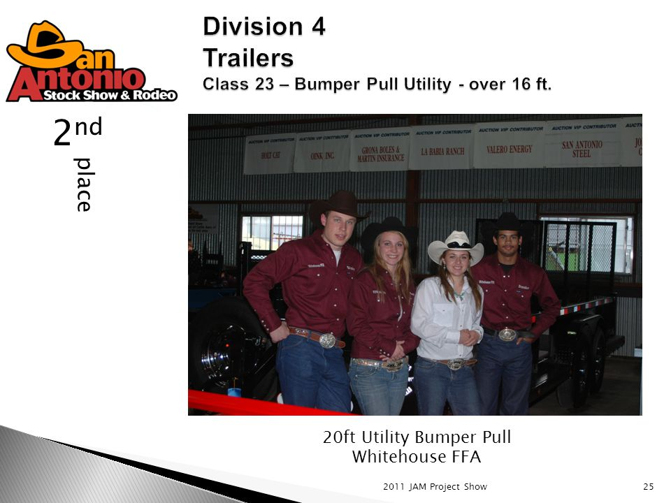 2011 JAM Project Show25 place 2 nd 20ft Utility Bumper Pull Whitehouse FFA