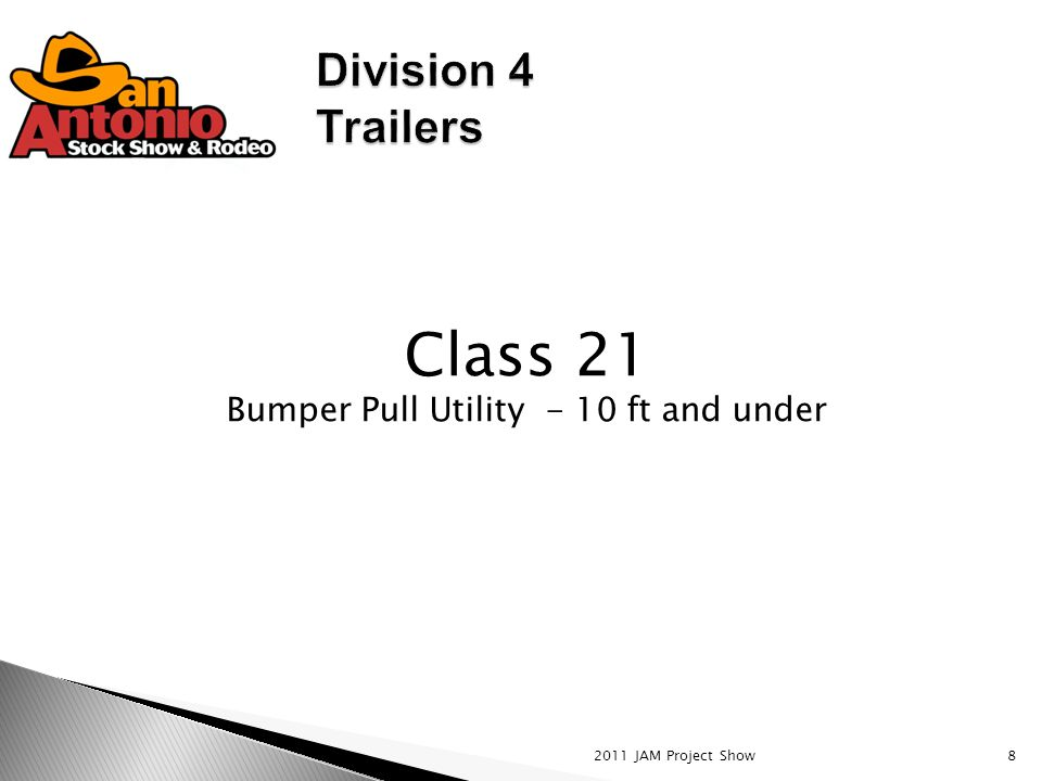 2011 JAM Project Show8 Class 21 Bumper Pull Utility - 10 ft and under