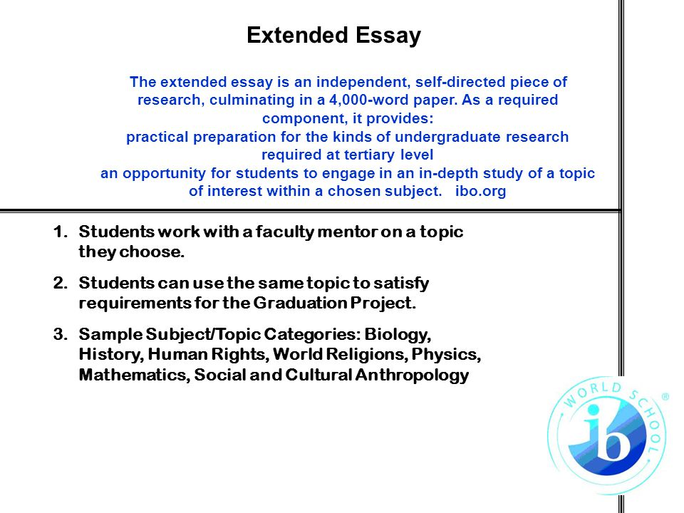 extended essay art ib Ib computer science extended essay ib subject of essay: computer science cryptography is an ancient art and science that has experienced many paradigm.