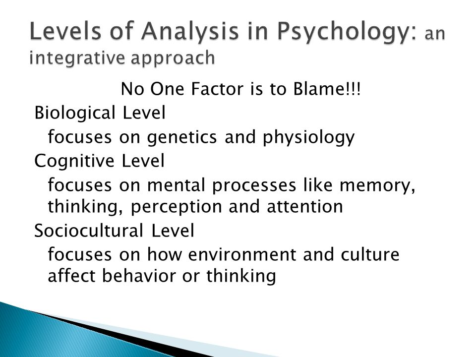 No One Factor is to Blame!!! Biological Level focuses on genetics and physiology Cognitive Level focuses on mental processes like memory, thinking, pe