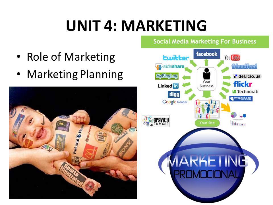 UNIT 4: MARKETING Role of Marketing Marketing Planning