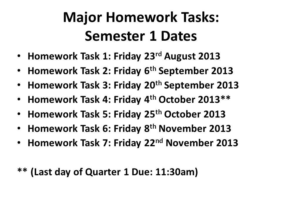 Major Homework Tasks: Semester 1 Dates Homework Task 1: Friday 23 rd August 2013 Homework Task 2: Friday 6 th September 2013 Homework Task 3: Friday 2