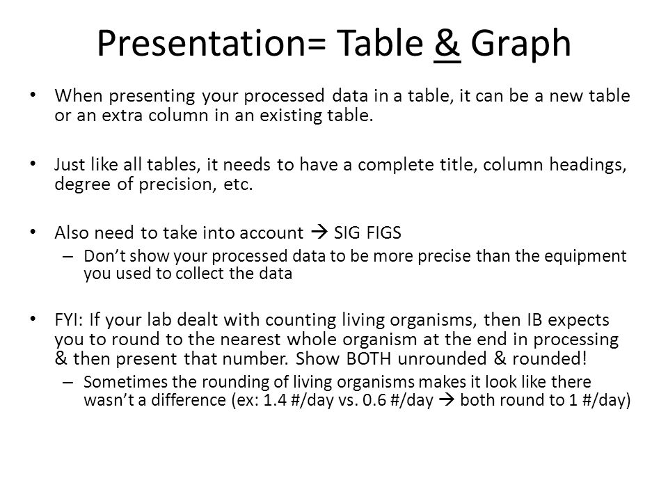 Presentation= Table & Graph When presenting your processed data in a table, it can be a new table or an extra column in an existing table. Just like a