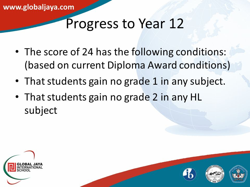 The score of 24 has the following conditions: (based on current Diploma Award conditions) That students gain no grade 1 in any subject.