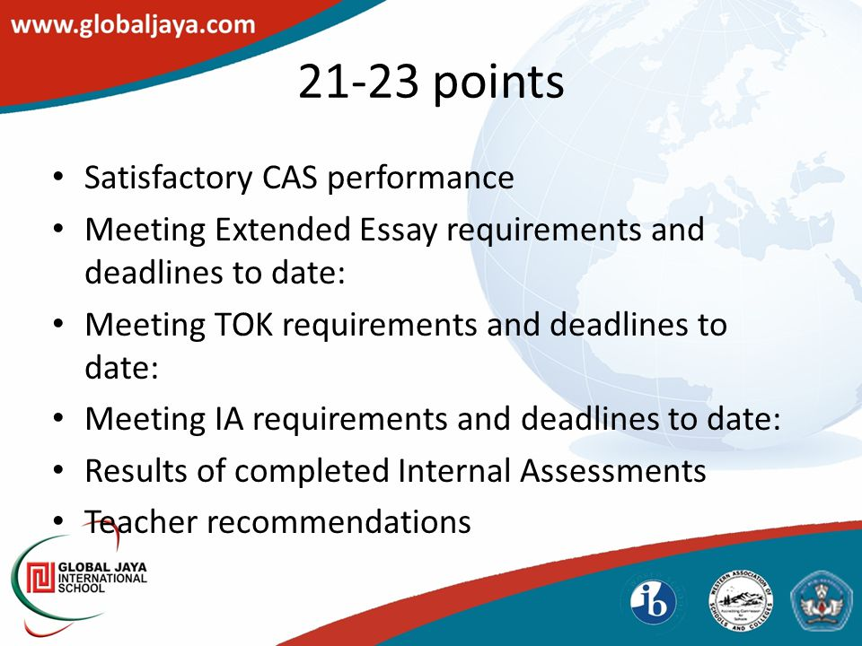 Satisfactory CAS performance Meeting Extended Essay requirements and deadlines to date: Meeting TOK requirements and deadlines to date: Meeting IA requirements and deadlines to date: Results of completed Internal Assessments Teacher recommendations 21-23 points