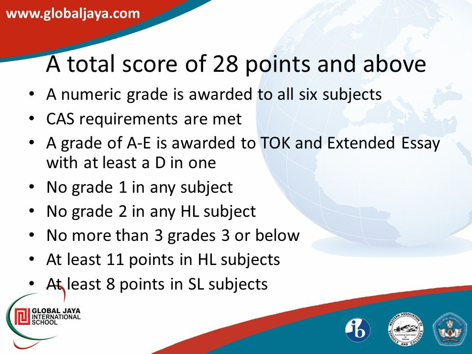 A numeric grade is awarded to all six subjects CAS requirements are met A grade of A-E is awarded to TOK and Extended Essay with at least a D in one No grade 1 in any subject No grade 2 in any HL subject No more than 3 grades 3 or below At least 11 points in HL subjects At least 8 points in SL subjects A total score of 28 points and above