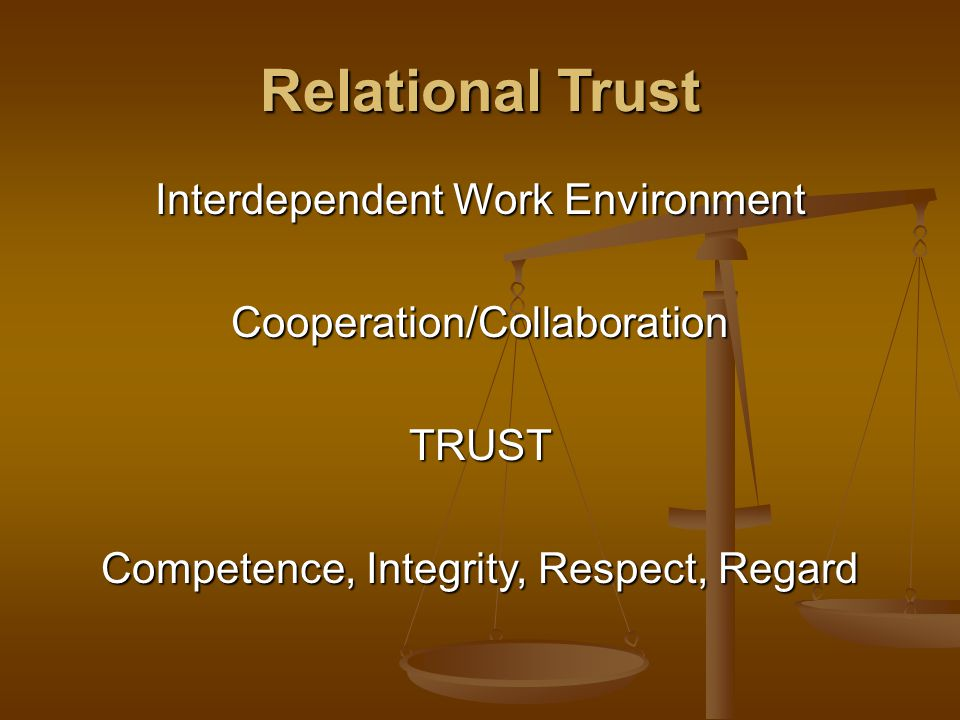 Relational Trust Interdependent Work Environment Cooperation/CollaborationTRUST Competence, Integrity, Respect, Regard
