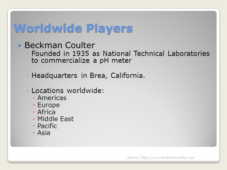 Worldwide Players Beckman Coulter ◦Founded in 1935 as National Technical Laboratories to commercialize a pH meter ◦Headquarters in Brea, California. ◦