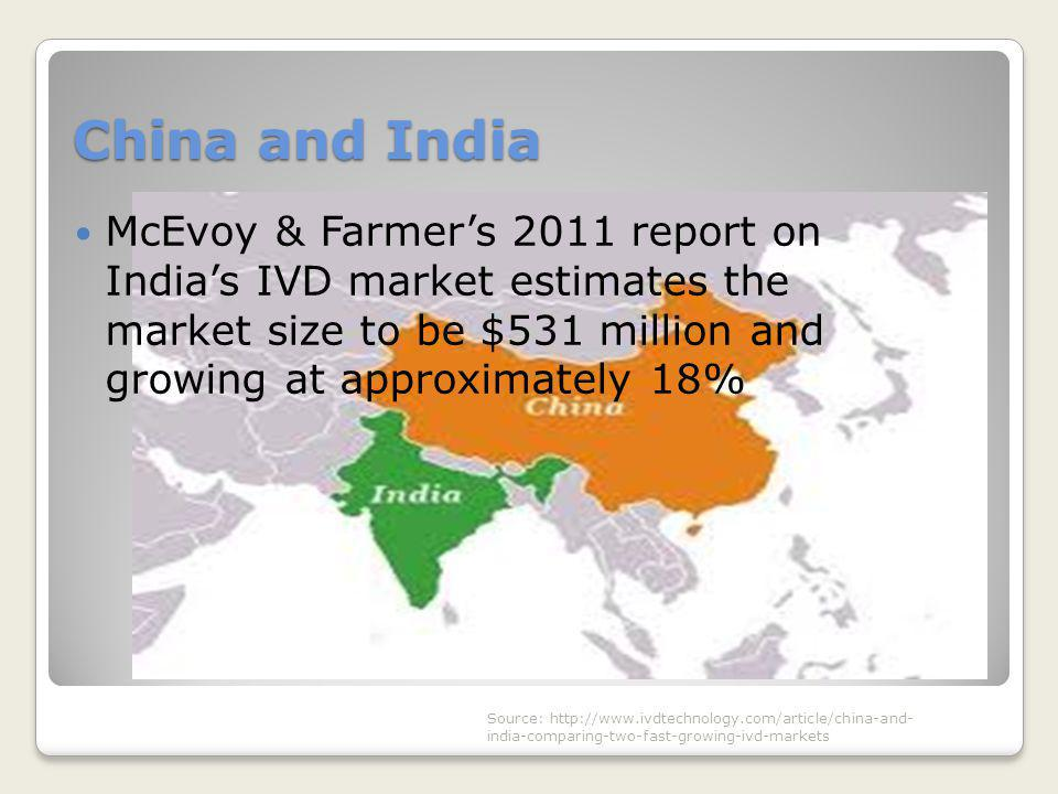 China and India McEvoy & Farmer's 2011 report on India's IVD market estimates the market size to be $531 million and growing at approximately 18% Sour