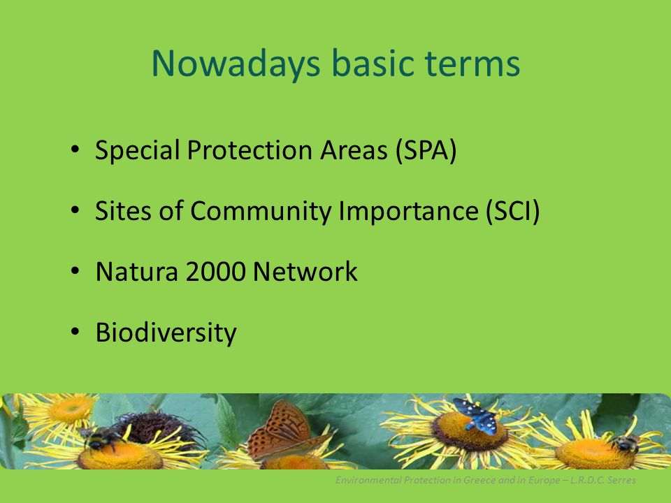 Nowadays basic terms Special Protection Areas (SPA) Sites of Community Importance (SCI) Natura 2000 Network Biodiversity Environmental Protection in G