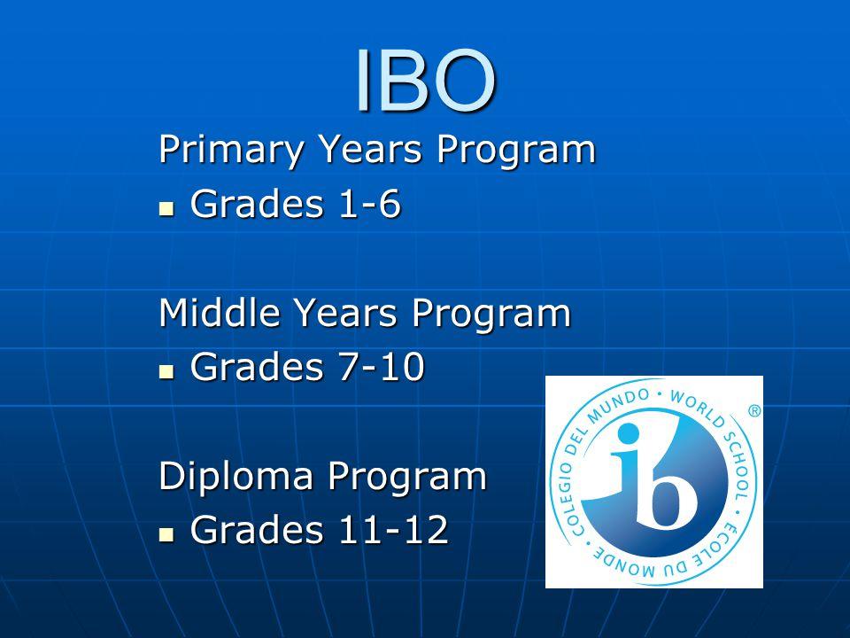 IBO Primary Years Program Grades 1-6 Grades 1-6 Middle Years Program Grades 7-10 Grades 7-10 Diploma Program Grades 11-12 Grades 11-12