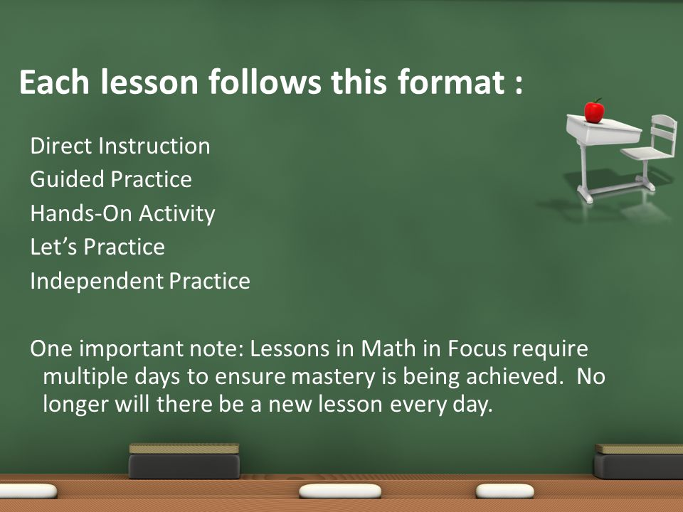 Each lesson follows this format : Direct Instruction Guided Practice Hands-On Activity Let's Practice Independent Practice One important note: Lessons