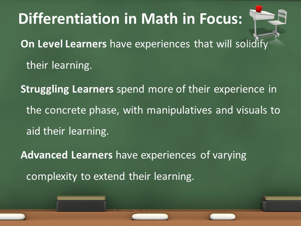 Differentiation in Math in Focus: On Level Learners have experiences that will solidify their learning. Struggling Learners spend more of their experi