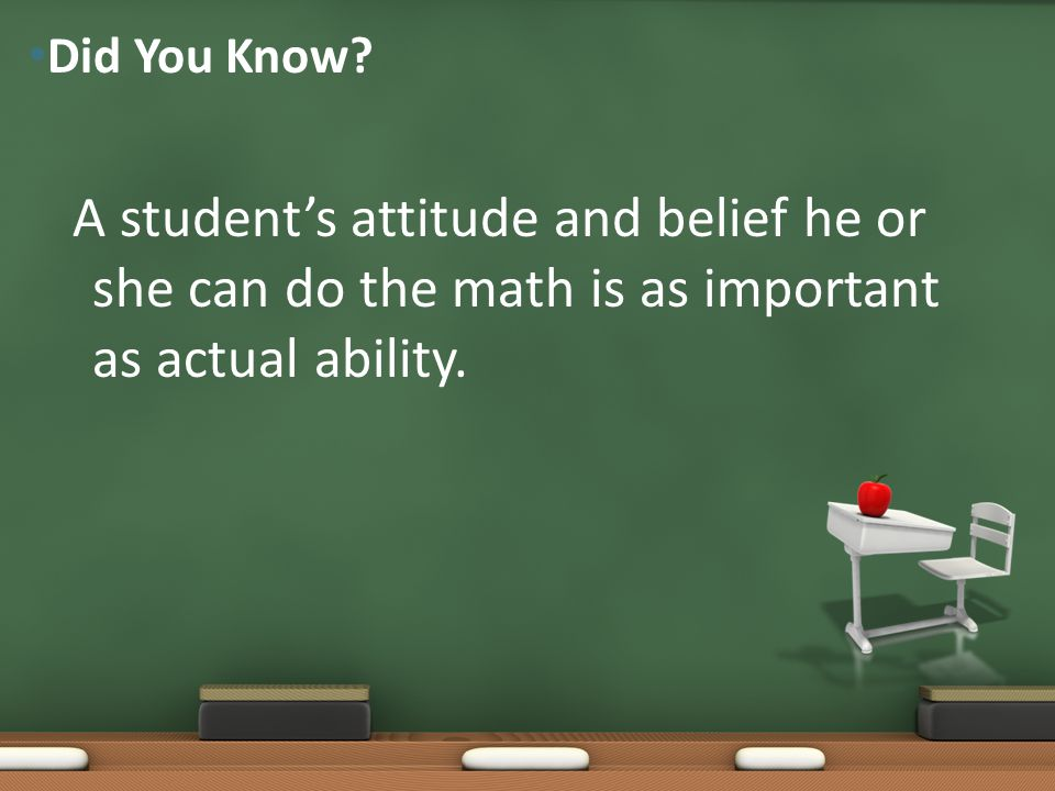 A student's attitude and belief he or she can do the math is as important as actual ability. Did You Know?