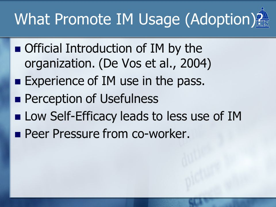 IM & Work Performance CategoryRespons e Coun t Percenta ge Overall, do you believe instant messaging is an effective means of communication.