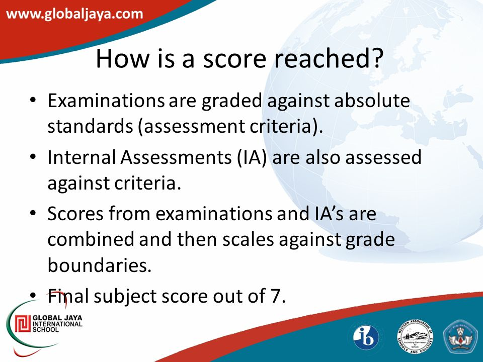 How is a score reached.Examinations are graded against absolute standards (assessment criteria).