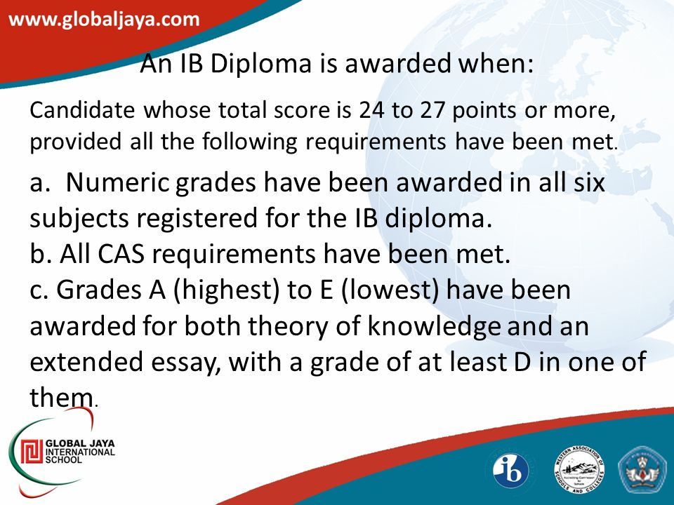 An IB Diploma is awarded when: Candidate whose total score is 24 to 27 points or more, provided all the following requirements have been met. a. Numer