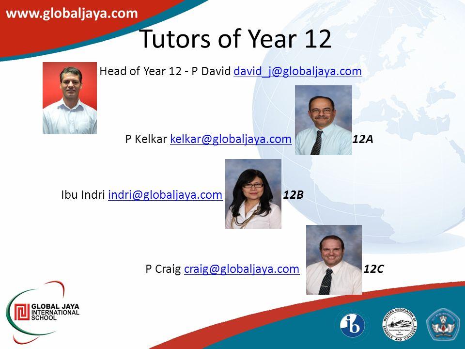 Tutors of Year 12 Head of Year 12 - P David david_j@globaljaya.comdavid_j@globaljaya.com P Kelkar kelkar@globaljaya.com 12Akelkar@globaljaya.com Ibu Indri indri@globaljaya.com 12Bindri@globaljaya.com P Craig craig@globaljaya.com 12Ccraig@globaljaya.com