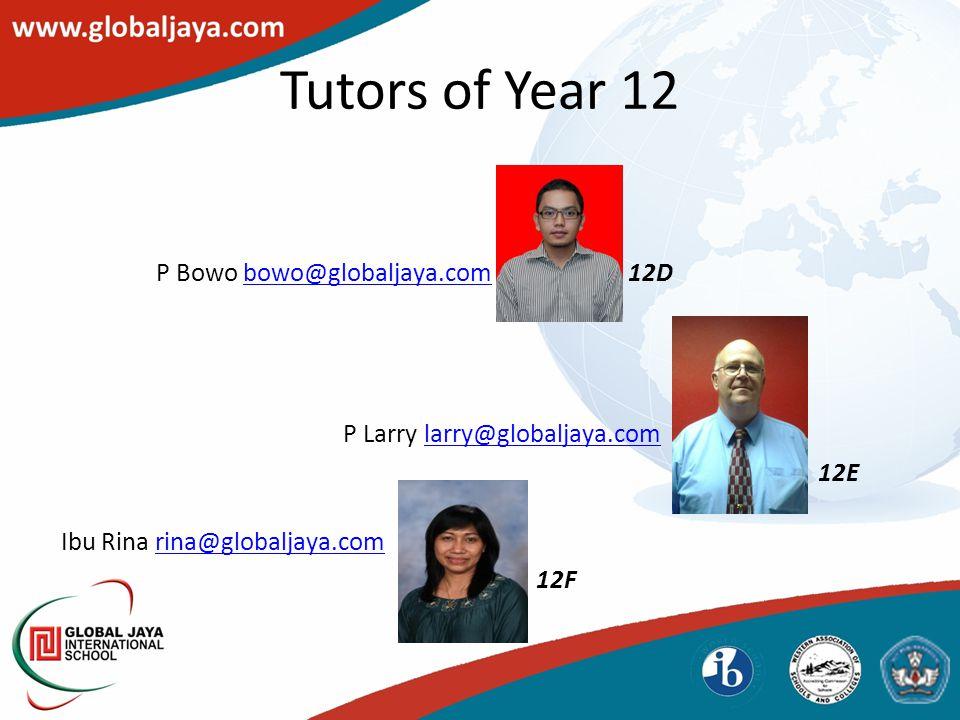 Tutors of Year 12 P Bowo bowo@globaljaya.com 12Dbowo@globaljaya.com P Larry larry@globaljaya.comlarry@globaljaya.com 12E Ibu Rina rina@globaljaya.comrina@globaljaya.com 12F