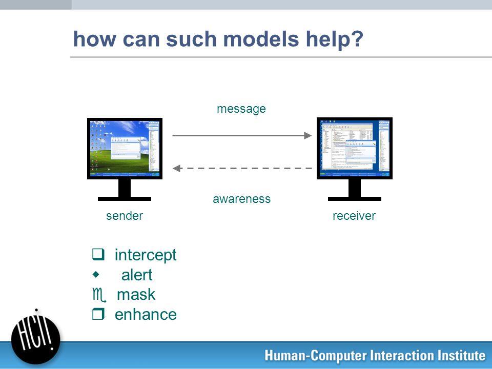 how can such models help? senderreceiver q intercept w alert e mask r enhance awareness message